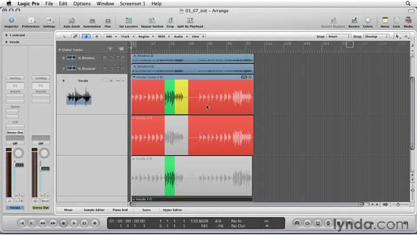Working with takes recording and comping: Logic Pro 9 Essential Training