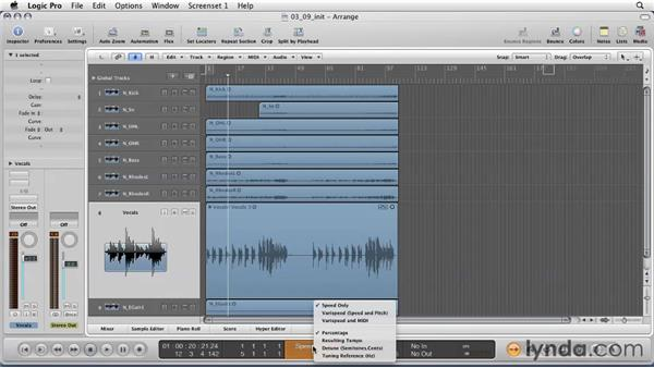 Using Varispeed to create an old tape machine sound: Logic Pro 9 Essential Training