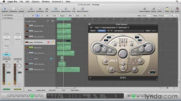 Using the Logic synth instruments: Logic Pro 9 Essential Training