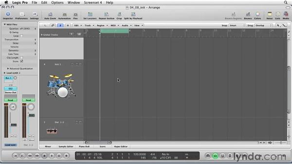 Learning how to use MIDI with Cycle Record: Logic Pro 9 Essential Training