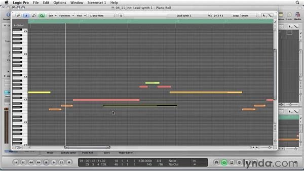 Working in the Piano Scroll window: Logic Pro 9 Essential Training