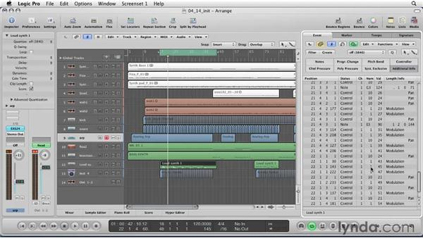 Working with the Events List: Logic Pro 9 Essential Training