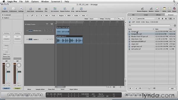 Importing prerecorded audio into Logic: Logic Pro 9 Essential Training
