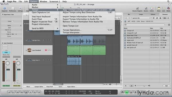 Conforming tempo, region to session, or session to region: Logic Pro 9 Essential Training