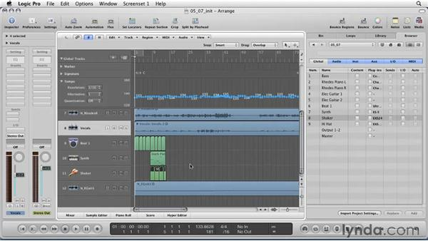 Importing elements from project to project: Logic Pro 9 Essential Training