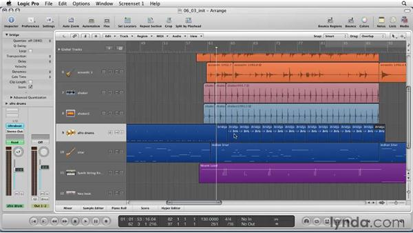 Editing and merging regions in the Arrange window: Logic Pro 9 Essential Training