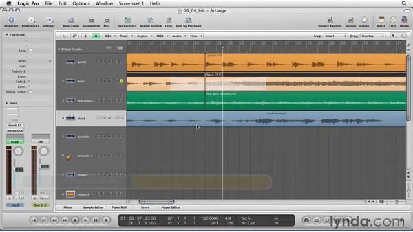 Mastering fades for audio region arranging: Logic Pro 9 Essential Training