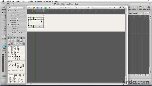 Working with notes and composing in the Score Editor: Logic Pro 9 Essential Training