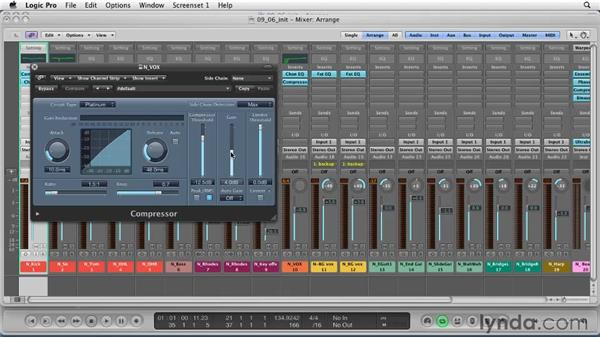 Exploring inserts: Using compression as a mix tool: Logic Pro 9 Essential Training