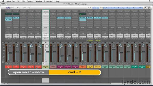 Using advanced signal flow with aux and send tracks: Logic Pro 9 Essential Training