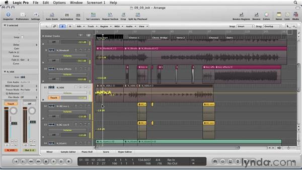 Using automation to create dynamic mixes: Logic Pro 9 Essential Training