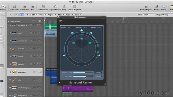 Using the surround panner: Logic Pro 9 Essential Training