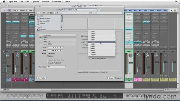 Bouncing down your song: Logic Pro 9 Essential Training