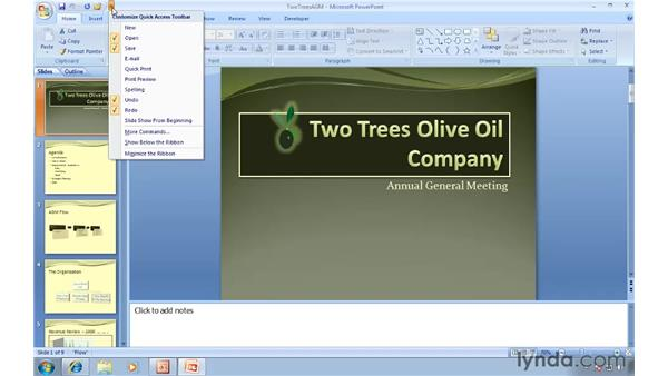 Customizing the Quick Access toolbar: Migrating from PowerPoint 2003 to PowerPoint 2007
