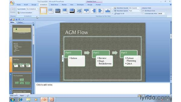 Livening up your presentation with transitions and animations: Migrating from PowerPoint 2003 to PowerPoint 2007