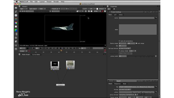 Project: Compositing a jet fighter over clouds: Nuke 5 Essential Training