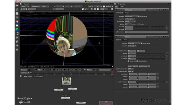 Projecting textures onto a sphere: Nuke 5 Essential Training