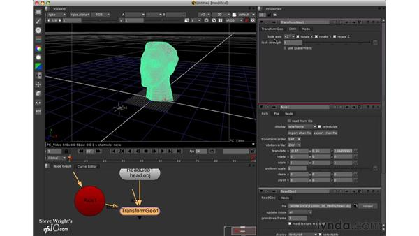 Setting geometry to look at a target: Nuke 5 Essential Training