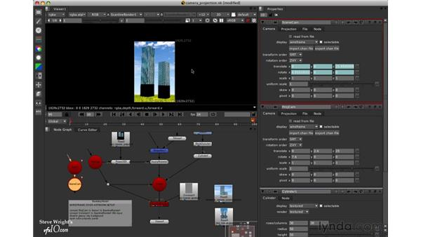 Viewing the wireframe over the background: Nuke 5 Essential Training