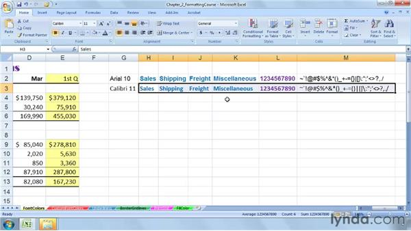 Applying and adjusting fonts and font colors: Excel 2007: Advanced Formatting Techniques