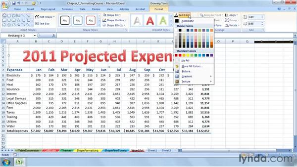 Learning the WordArt essentials for titles and headings: Excel 2007: Advanced Formatting Techniques