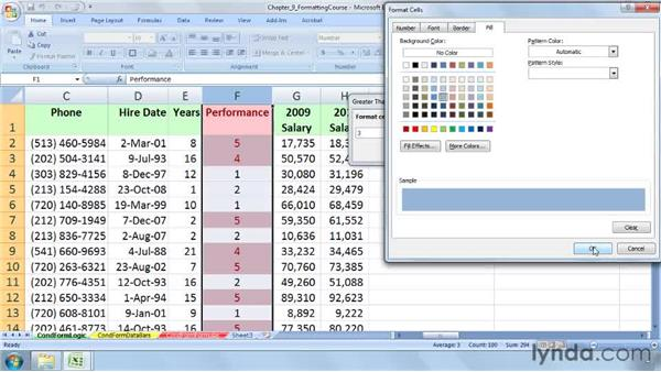 Creating value-based formatting using logical operators: Excel 2007: Advanced Formatting Techniques