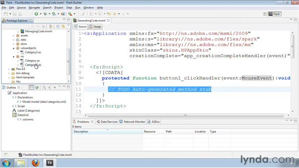 Generating event handler and setter/getter methods: Flash Builder 4 and Flex 4 New Features