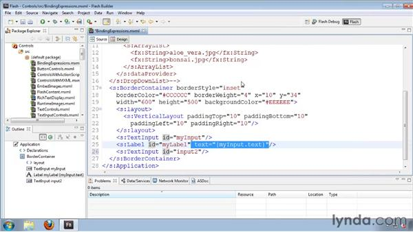 Passing data with binding expressions: Flash Builder 4 and Flex 4 Essential Training