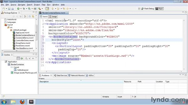Using the BorderContainer: Flash Builder 4 and Flex 4 Essential Training