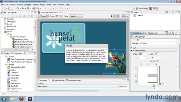 Using constraint-based layout properties: Flash Builder 4 and Flex 4 Essential Training