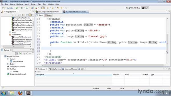 Declaring and using custom methods: Flash Builder 4 and Flex 4 Essential Training