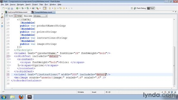 Declaring and setting component states: Flash Builder 4 and Flex 4 Essential Training