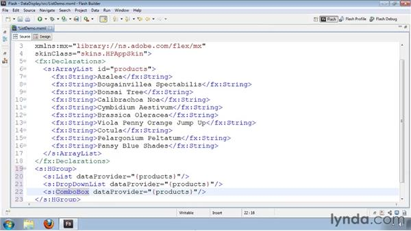 Using the List and DropDownList controls: Flash Builder 4 and Flex 4 Essential Training