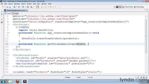 Using labelFunction with a DataGrid column: Flash Builder 4 and Flex 4 Essential Training