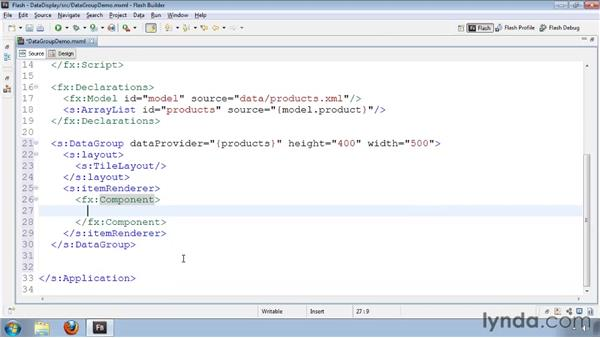 Displaying data items with DataGroup: Flash Builder 4 and Flex 4 Essential Training