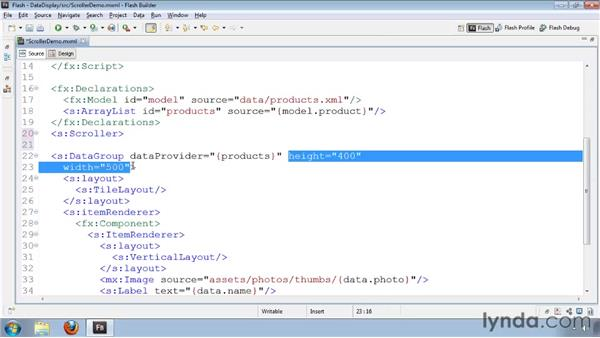 Adding scrollbars to groups: Flash Builder 4 and Flex 4 Essential Training