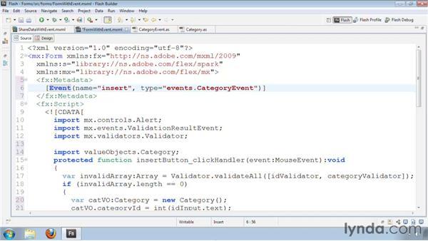 Sharing data using custom event classes: Flash Builder 4 and Flex 4 Essential Training