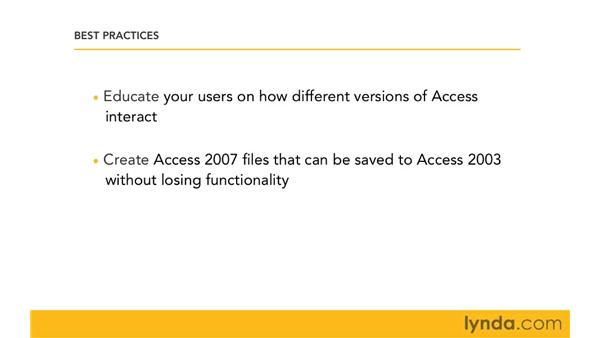 Best practices for managing files in a mixed environment: Migrating from Access 2003 to Access 2007
