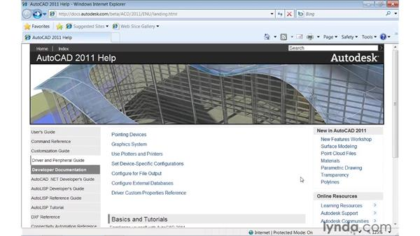 Accessing the web-based help system: AutoCAD 2011 New Features