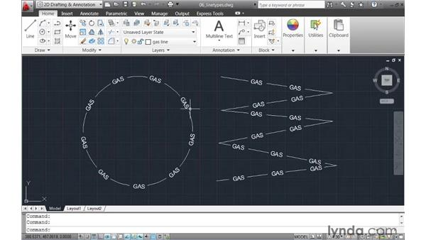 Controlling text alignment within linetypes: AutoCAD 2011 New Features