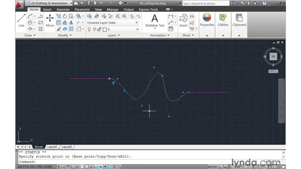 Editing splines using intuitive grip menus: AutoCAD 2011 New Features
