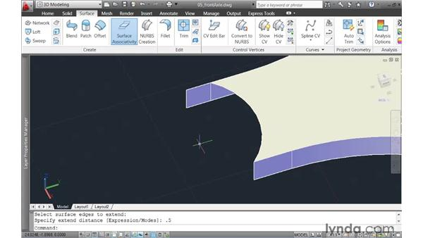 Trimming and extending surfaces: AutoCAD 2011 New Features