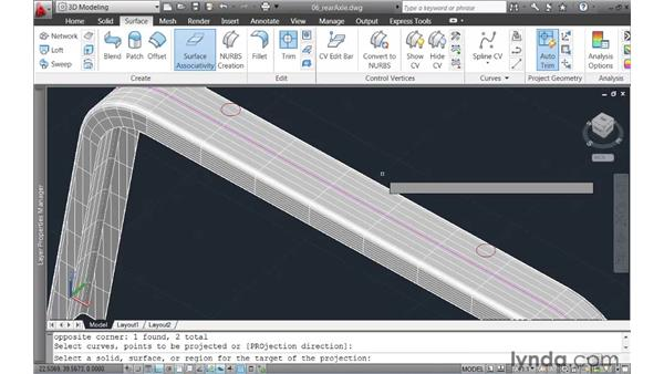 Projecting geometry onto a surface: AutoCAD 2011 New Features