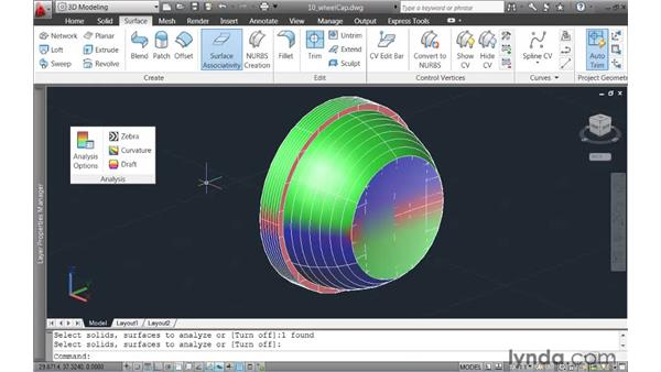 Analyzing surface continuity: AutoCAD 2011 New Features