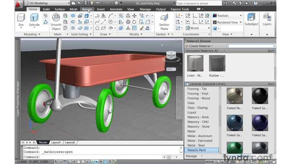 Applying materials to an assembly: AutoCAD 2011 New Features