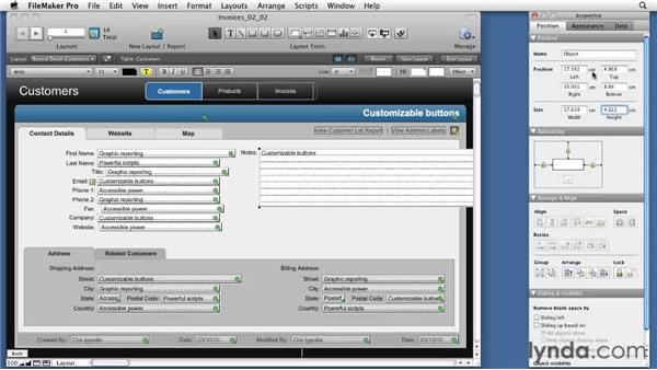 Using the Position tab: FileMaker Pro 11 New Features