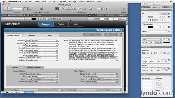 Using the Appearance tab: FileMaker Pro 11 New Features
