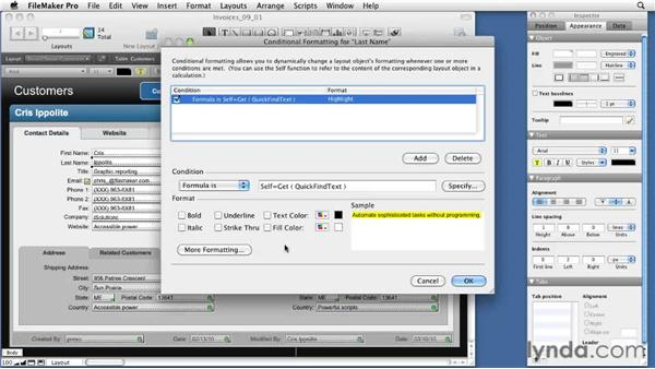 Applying the Text Highlight tool: FileMaker Pro 11 New Features