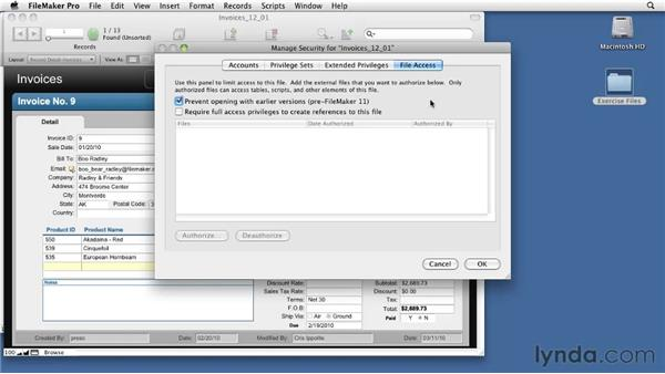 Reviewing external table security: FileMaker Pro 11 New Features