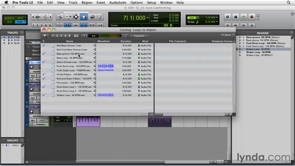 Auto-conforming imported loops: Pro Tools Projects: Time Manipulation with Elastic Audio